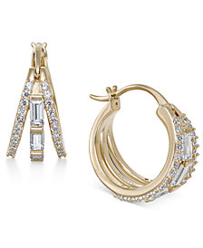 Danori Silver-Tone Baguette Crystal Triple Hoop Earrings, Created for Macy's