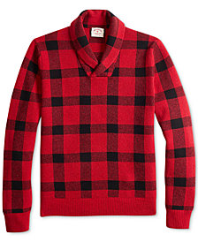 Brooks Brothers Men's Red Fleece Buffalo Plaid Shawl-Collar Sweater