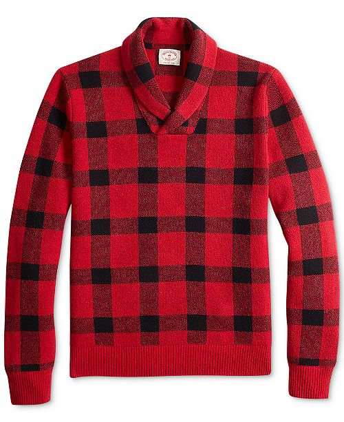 4caccd13ffc8 ... Brooks Brothers Men s Red Fleece Buffalo Plaid Shawl-Collar Sweater ...
