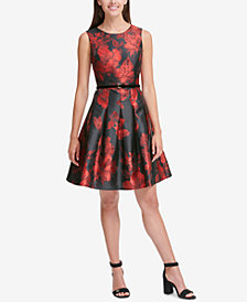 Tommy Hilfiger Velvet-Belt Fit & Flare Dress