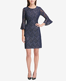 Tommy Hilfiger Lace Bell-Sleeve A-Line Dress
