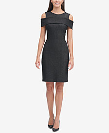 Tommy Hilfiger Foil Knit Cold-Shoulder Sheath Dress