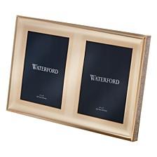 "Waterford Lismore Diamond Double Frame 5x7"" Gold"