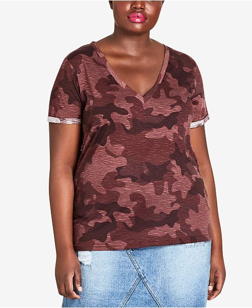 Trendy Plus Size Camouflage Top