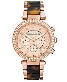 Michael Kors Women's Chronograph Parker Tortoise Acetate and Rose Gold-Tone Stainless Steel Bracelet Watch 39mm MK5538