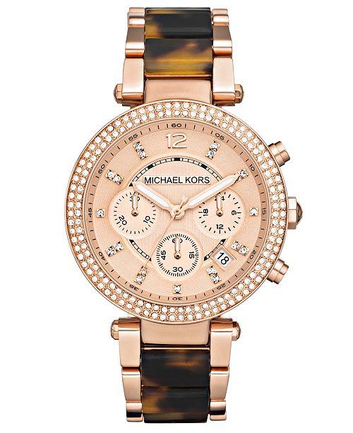 7e9d95479 Michael Kors Women's Chronograph Parker Tortoise Acetate and Rose Gold-Tone  Stainless Steel Bracelet Watch ...
