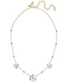 "kate spade new york Gold-Tone Crystal & Imitation Mother-of-Pearl Flower Collar Necklace, 16"" + 3"" extender"