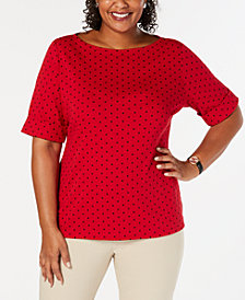 Karen Scott Plus Size Dot-Print Top, Created for Macy's