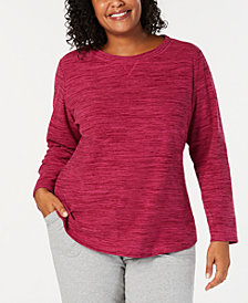 Karen Scott Plus Size Microfleece Long-Sleeve Top, Created for Macy's