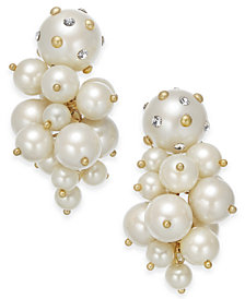 kate spade new york Gold-Tone Pavé & Imitation Pearl Cluster Drop Earrings
