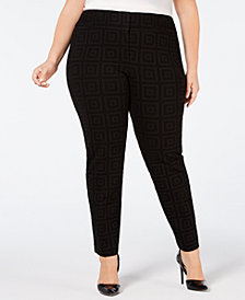 Alfani Plus Size Flocked Ponté-Knit Pants, Created for Macy's
