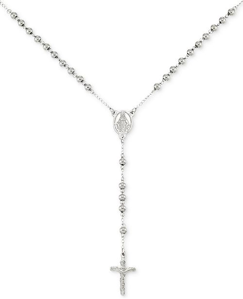 """LEGACY for MEN by Simone I. Smith Beaded Cross 24"""" Lariat Necklace in Stainless Steel"""