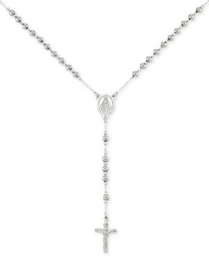 """Smith Beaded Cross 24"""" Rosary Necklace in Stainless Steel"""