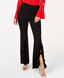 I.N.C. Velvet Split-Ruffle Leg Pants, Created for Macy's