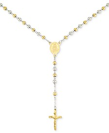 "Beaded Cross 24"" Lariat Necklace in Stainless Steel & Yellow Ion-Plate"
