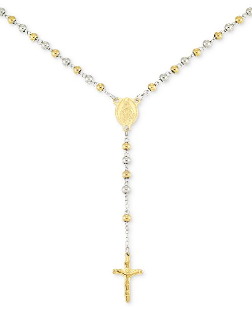 """LEGACY for MEN by Simone I. Smith Beaded Cross 24"""" Lariat Necklace in Stainless Steel & Yellow Ion-Plate"""