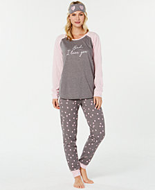 Jenni Knit 3 Piece Pajama Set, Created for Macy's