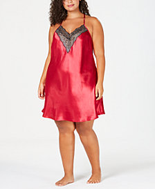 Thalia Sodi Plus Size Lace-Trimmed Chemise, Created for Macy's