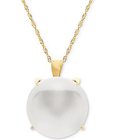 "Honora Cultured Freshwater Coin Pearl (13mm) 18"" Pendant Necklace in 14k Gold"