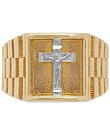 Men's Crucifix Ring in 14k Gold & White Gold