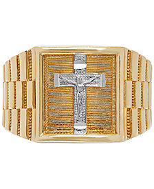 Men's Crucifix Ring in 14k Gold & White Gold