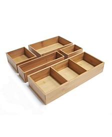 Bamboo Storage Box Drawer Organizer Set With 3 Compartment Organizer Box, 5 Piece Set