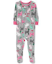Carter's Toddler Girls Cat-Print Fleece Footed Pajamas