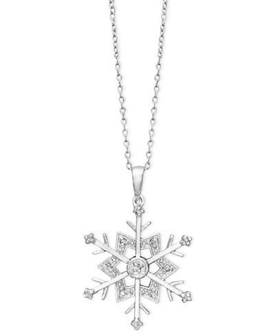 Diamond Snowflake Pendant Necklace in Sterling Silver (1/10 ct. t.w.)