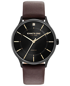 Kenneth Cole New York Men's Brown Leather Strap Watch 40mm
