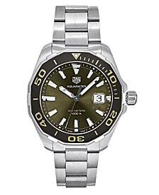 TAG Heuer Men's Swiss Aquaracer Stainless Steel Bracelet Watch 43mm, Created for Macy's