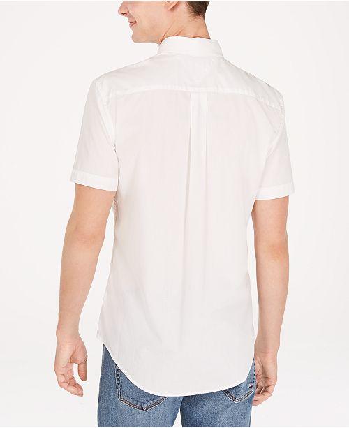 795780ac ... Tommy Hilfiger Men's Jerry Classic-Fit Stripe Logo Poplin Shirt ...