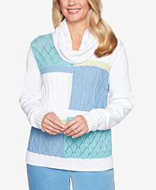 Alfred Dunner Simply Irresistible Colorblocked Scarf-Detail Sweater