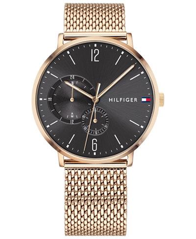 Tommy Hilfiger Men's Rose Gold-Tone Stainless Steel Mesh Bracelet Watch 40mm