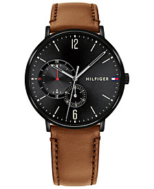 Tommy Hilfiger Men's Cognac Leather Strap Watch 40mm