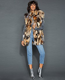 Stand-Collar Fox Fur Vest
