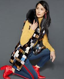 The Fur Vault Fox-Fur-Trim Mink Vest