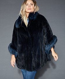 The Fur Vault Plus Size Fox-Fur-Trim Mink Cape