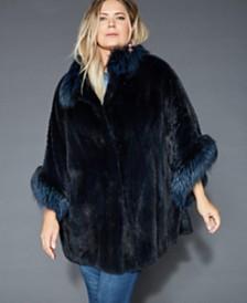 The Fur Vault Plus Size Fox-Fur-Trim Mink Cape