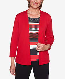 Alfred Dunner Sutton Place Embellished Layered-Look Sweater