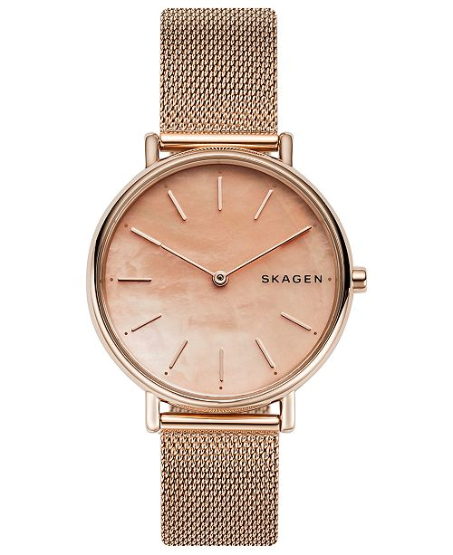 b7b9c081c8a ... Skagen Women s Signatur Rose Gold-Tone Stainless Steel Mesh Bracelet  Watch ...