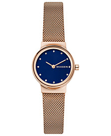 Skagen Women's Freja Rose Gold-Tone Mesh Bracelet Watch 26mm
