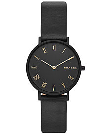 Skagen Women's Hald Slim Black Leather Strap Watch 34mm