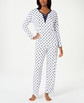 8033a8da29 Alfani Lace-Up Printed Knit Pajama Set
