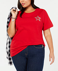 Tommy Hilfiger Plus Size Embellished Logo T-Shirt, Created for Macy's