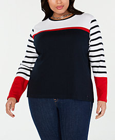 Tommy Hilfiger Plus Size Cotton Striped Sweater, Created for Macy's