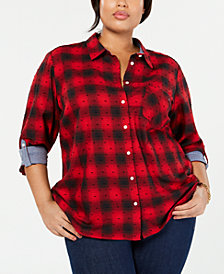 Tommy Hilfiger Plus Size Cotton Plaid-Check Shirt, Created for Macy's