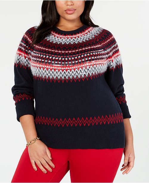 great discount sale how to purchase newest Tommy Hilfiger Plus Size Sequin Fair Isle Sweater, Created ...
