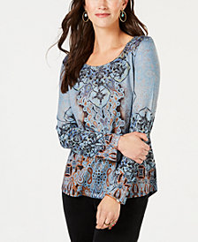 Style & Co Printed Rhinestone-Embellished Top, Created for Macy's