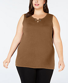 JM Collection Plus Size Sleeveless Grommet Shell, Created for Macy's