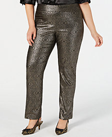 JM Collection Plus Size Metallic Tummy-Control Pants, Created for Macy's